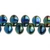 Glass Leaves 6X8mm Green Iris